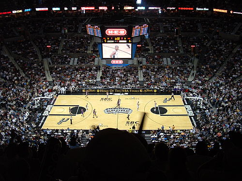 The San Antonio Spurs hosting the Los Angeles Lakers in Game 1 of the 2004  Western