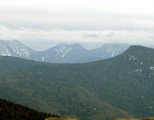 Saddleback Mountain (Keene, New York) - l to r: Gothics, Saddleback, Basin (in cloud); Big Slide (right middleground) — from Cascade