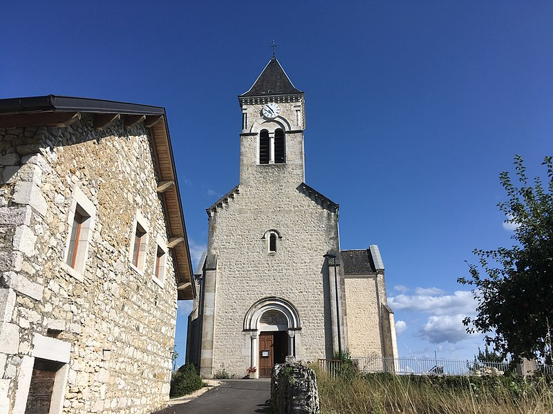 The Church of Saint-Martin-de-Bavel (Ain department, France). August 2017