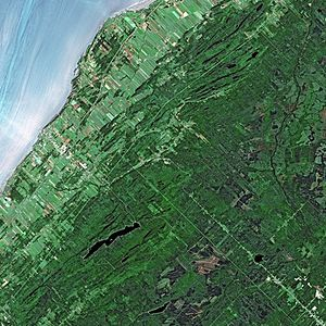 "Seigneurial system of New France - St. Lawrence River by SPOT Satellite. ""Long lots"" can be discerned at the riverside"