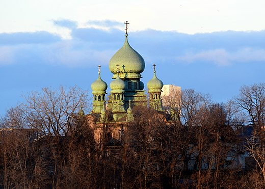 St. Theodosius Russian Orthodox Cathedral in Tremont. Saint Theodosius Russian Orthodox Cathedral (Cleveland, Ohio) - exterior photographed from A Christmas Story House property.jpg