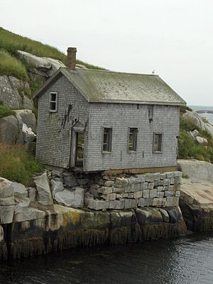 Sambro Island Light - Sambro's crumbling Gas House, a registered federal heritage building