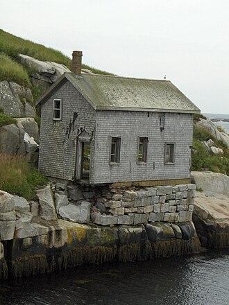 Sambro Island Light - Sambro's crumbling Gas House, a registered federal heritage building
