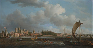 Westminster from Lambeth, with the Ceremonial Barge of the Ironmongers' Company