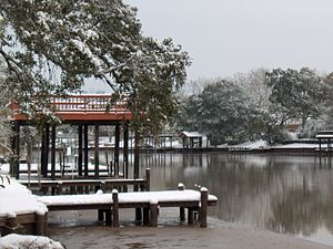 San Bernard River - San Bernard River after the 2004 Christmas Eve Snowstorm, a rarity for this part of Texas.