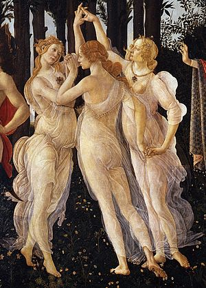 Charites - The Three Graces, from Sandro Botticelli's painting Primavera in the Uffizi Gallery.