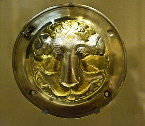 Silver-gilt - Sassanid silver-gilt shield-boss, 7th century