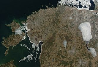 Geography of Estonia - Satellite image of Estonia in April 2004.