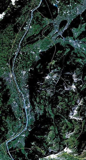 Outline of Liechtenstein - An enlargeable satellite image of Liechtenstein
