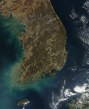 Geography of South Korea - Satellite image of South Korea.