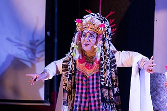 Toeti Heraty - Bulantrisna Djelantik portraying Calon Arang in a Balinese dance drama based on Heraty's version of the story