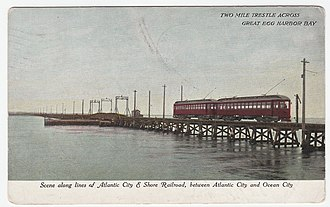 Atlantic City and Shore Railroad - Two Mile Trestle across Great Egg Harbour Bay