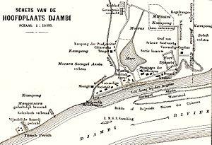 Jambi uprising - An old Dutch map of Jambi