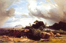 Heranziehendes Gewitter in der römischen Campagna, 1858, Staatliche Kunsthalle Karlsruhe (Quelle: Wikimedia)