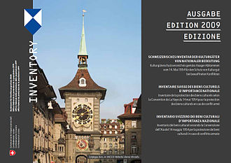 Swiss Inventory of Cultural Property of National and Regional Significance - The cover of the 2009 edition of the Inventory, showing the Zytglogge in Bern and the blue shield of the Hague Convention.