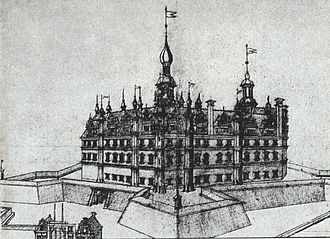 Schwerin Palace - The fortified castle and its bastions, 1617