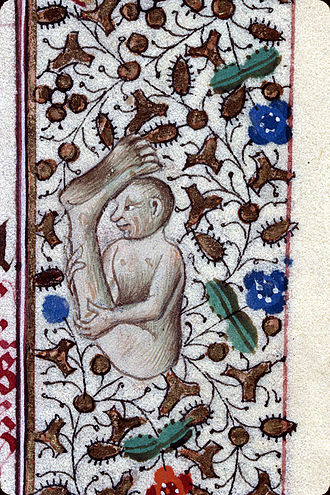 "Monopod (creature) - Sciapod protecting himself from the sun by the shade of his foot. In margin of ""Heures à l'usage des Antonins"", 15th century. Attributed to the ""Maître du Prince de Piémont""."