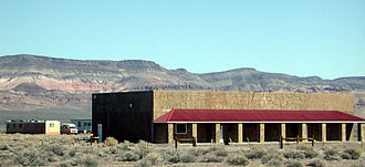 Scotty's Junction, Nevada - Buildings at Scotty's Junction with the rim of Pahute Mesa to the northeast
