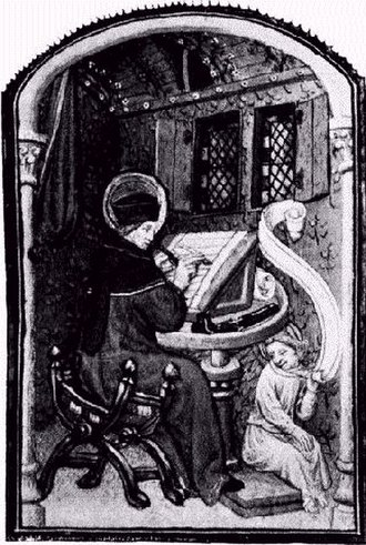 Manuscript culture - Paul Pierce within an illustration of a Mediæval Scriptorium. From a manuscript of a Book of Prayers. 15th Century. British Museum, Slo. 2468.