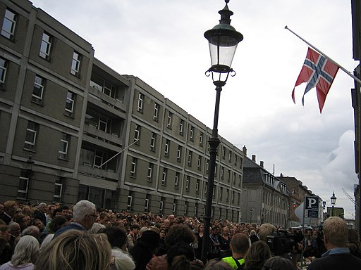 Sea of flowers and people in front of the Norwegian Embassy in Copenhagen