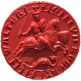 Saer de Quincy, 1st Earl of Winchester - Seal of Robert Fitzwalter (d.1235). So close was the alliance between both men that the seal shows the arms of Saer de Quincy (seven mascles 3,3,1) on a separate shield before FitzWalter horse, with FitzWalter's own arms on his own shield and on his horse's caparison.