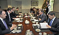 Secretary of Defense Leon E. Panetta, second from right, hosts a meeting with Serbia's Minister of Defense Aleksandar Vucic, second from left, in the Pentagon on Dec 121207-D-NI589-072.jpg