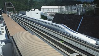 Maglev high-speed train line under construction in Japan