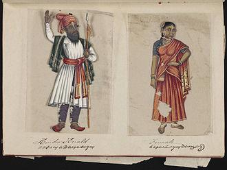 Deux pages d'un manuscrit présentant un Indien et une Indienne en habit d'époque.