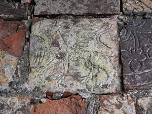 Strata Florida Abbey - An excavated mediaeval floor tile.