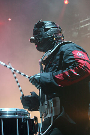 All Hope Is Gone World Tour - Shawn Crahan performing in Uniondale, New York, as part of the Mayhem Festival