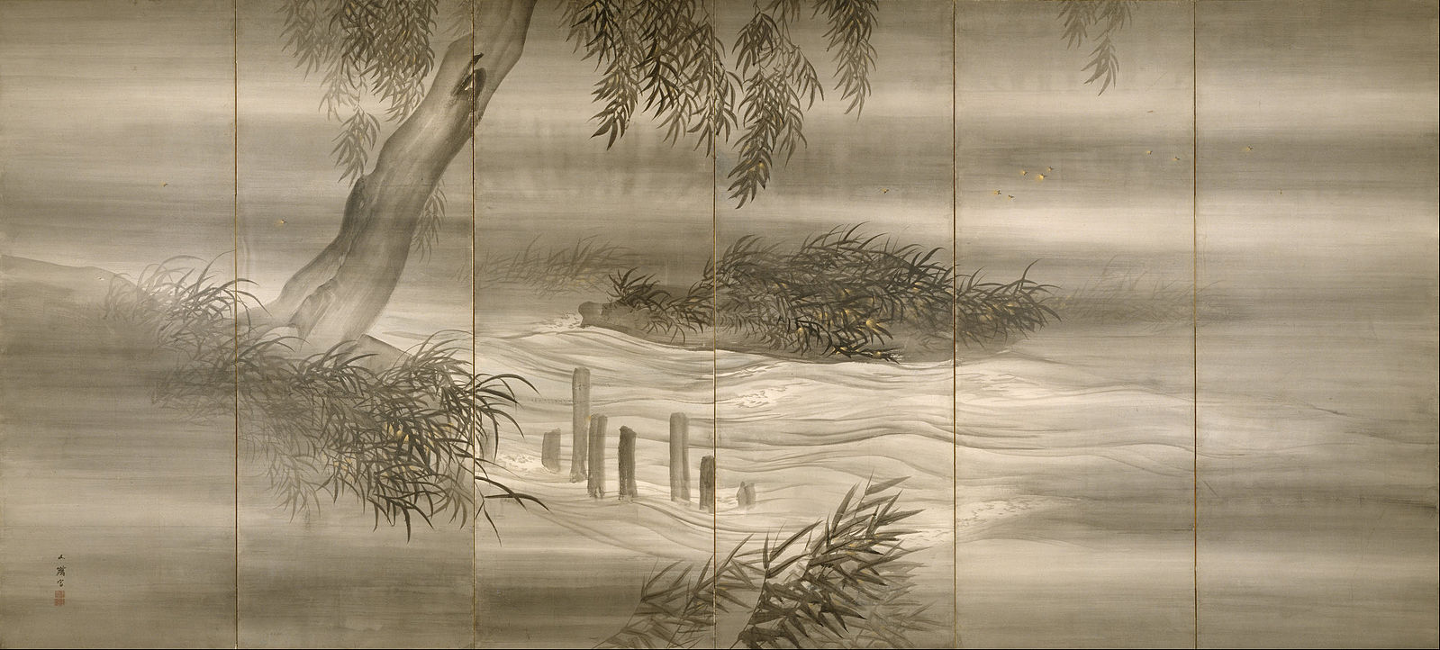 Artist: Shiokawa Bunrin Title: River Landscape with Fireflies