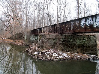 Mattabesset River - A railroad bridge which formerly carried the New Haven Railroad's Middletown Branch over the Mattabesset River in Middletown, Connecticut