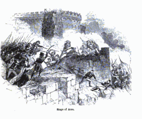 Siege of Acre. Charles Knight, The popular history of England. P. 377.png