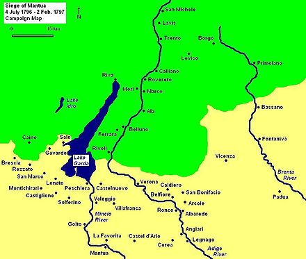 Siege of Mantua Campaign Map shows towns, major rivers, and mountainous terrain Siege of Mantua Campaign Map 1796 1797.JPG