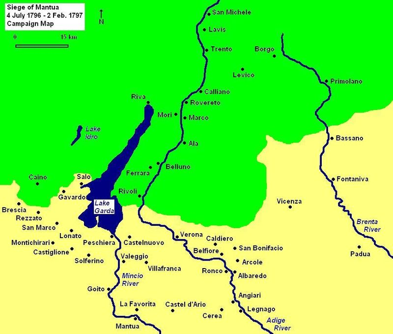 Siege of Mantua map shows important towns in northern Italy. Siege of Mantua Campaign Map 1796 1797.JPG