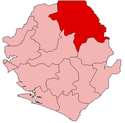 Location of Koinadugu District in Sierra Leone