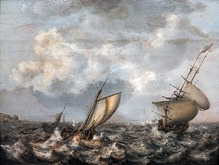Smallschip and frigate in stormy waters.