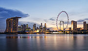 Singapore skyline at sunset viewed from Gardens by the Bay East - 20120426.jpg