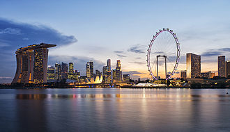 Central Region, Singapore - Image: Singapore skyline at sunset viewed from Gardens by the Bay East 20120426