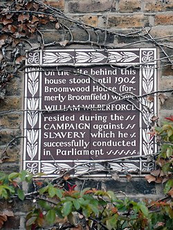 Photo of William Wilberforce brown plaque