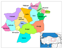 Location of Sivas within Turkey.