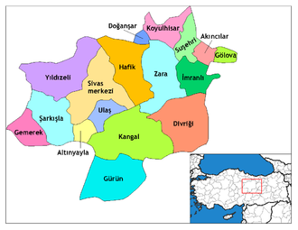 Divriği - Image: Sivas districts