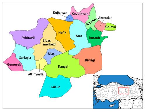 Sivas'ın ilçeleri
