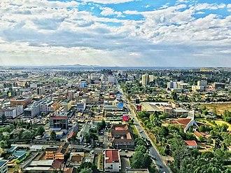 Eldoret - Skyline of Eldoret, facing west from atop MUPS Plaza