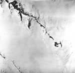 Snow River Glacier, icefield source of valley glacier with bergschrund, August 27, 1963 (GLACIERS 6844).jpg