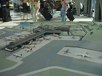 Sofia Airport - A model of the new airport terminal in the departures hall.