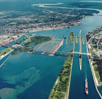 Great Lakes Waterway - The Soo Locks between Lake Superior and the St. Marys River