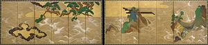 Yamato-e - Rinpa school version of Yamato-e landscape style on a pair of screens by Tawaraya Sōtatsu, 17th century