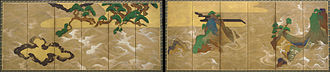Yamato-e - Rinpa school version of Yamato-e landscape style on a pair of screens by Tawaraya Sōtatsu, 17th century