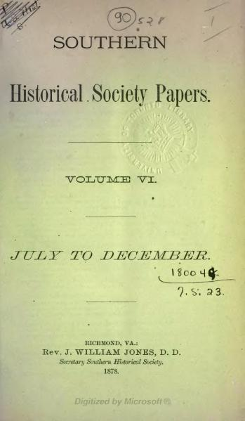 File:Southern Historical Society Papers volume 06.djvu